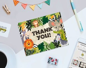 "Safari Printable Thank You Cards, Jungle Safari Thank You Cards, Printable 5.5"" x 4.25"" Thank You Cards, Instant Download"
