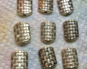 Antique silver tone RECTANGLE Basket weave beads with (12) 11x8 MM Rectangle beads basket weave beads