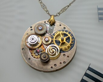 Steampunk Planets Necklace, Antique Pocket Watch Movement Plate with Gears Wheels and Cogs, Vtg Chain and Pendant Bail, Steampunkology