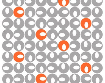 Tablecloth white grey orange rounds Spotlights Scandinavian Design , runner , napkins , curtains , pillows , great GIFT