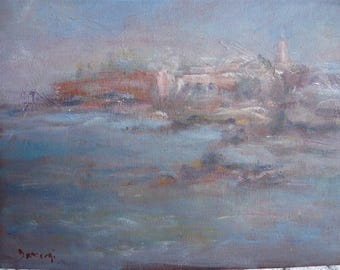 Orientalist oil painting view from the sea moroccan city Mogador signed Damergi impressionist style canvas on board circa 1930 home decor.