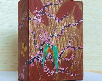 Brown and Gold Deep Edge Box Canvas, Pink Cherry Blossom with Birds and Butterflies Original Acrylic Painting, Miniature Artwork, 3D Art