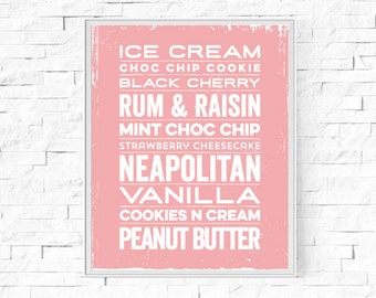 "Printable Ice Cream Typography Print - Kitchen Word Poster - Kitchen Decor - Instant Download - Contemporary Wall Art - 8""x10"" and A4."
