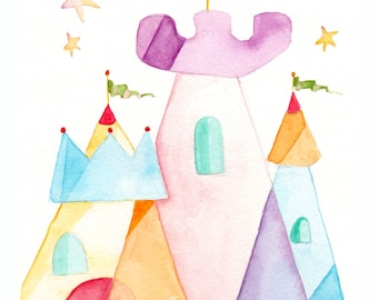 Princess Children's Art - Castle Painting - Princess Baby Decor - Princess Castle Watercolor Print - Kids Wall Art