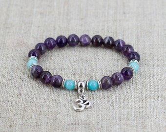 Om bracelet Mantra bracelet Amethyst bracelet Gemstone bracelet Mother day gift Yoga gift for girlfriend gift for boyfriend birthday gift