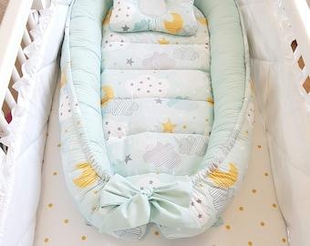 NEW PRINT! Double-sided babynest, Baby nest, Baby lounger, Baby positoner, baby sleep nest, sleep bed, co sleeper, removable mattress