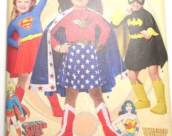 Simplicity Pattern 1035 Costume for Girls: Wonder Woman, Batgirl, Supergirl