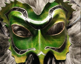 Green steampunk leather mask
