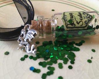 Dragon Enchantment miniature glass bottle pendant necklace with dragon charm