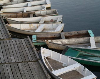 Boat Photograph, Perkins cove dinghies fine art print,summer boats, blue, white, green, grey, Maine coast, New England photo, cottage decor