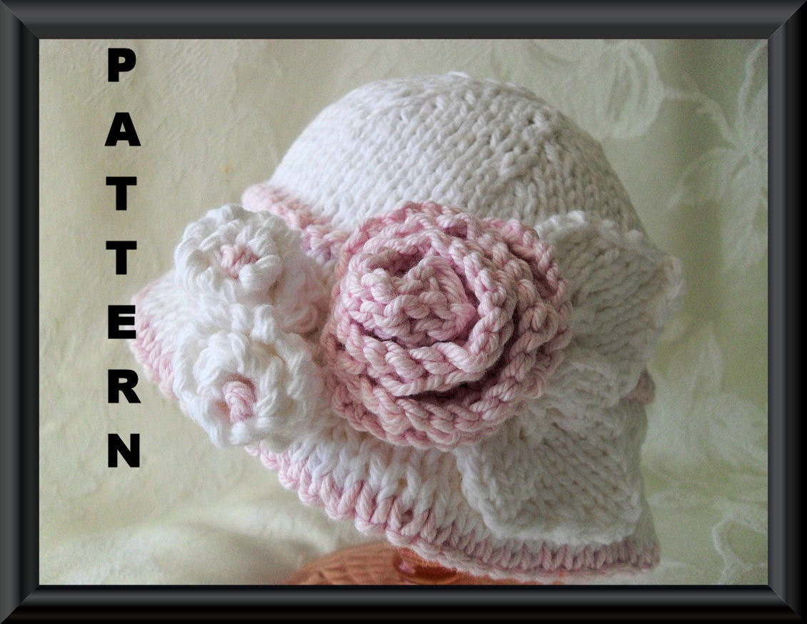 how to knit a rose for baby hat day