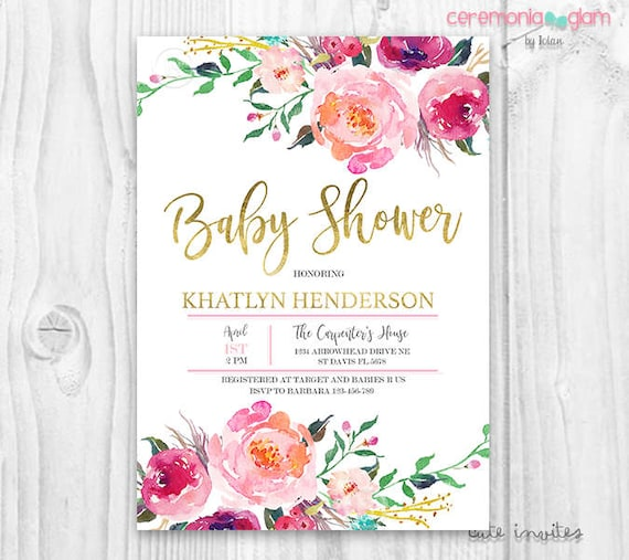 Floral Baby Shower Invitation Burgundy And Pink Watercolor
