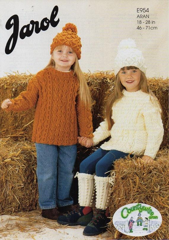 Baby Childs Childrens Aran Sweater Hat Knitting Pattern Pdf