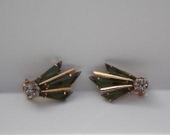 Vintage Austria Rhinestone Clip On Earrings