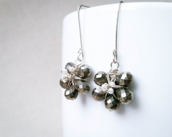 Sterling Silver Pyrite Flower Earrings: Gold Pyrite Blooms with Freshwater Pearls and 925 Sterling Silver Floral Wedding Bridal Valentine