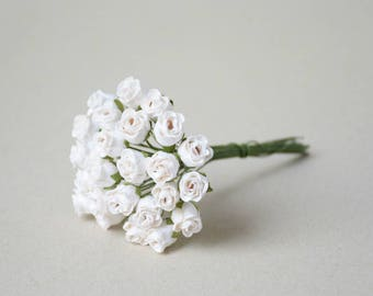 8  mm   /  20  White Rosebuds