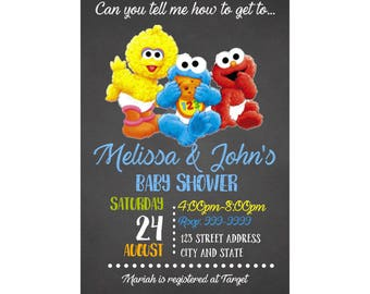 Sesame Street Baby Shower Invitation, Sesame Street Invite, Sesame Street invitation, Sesame Street,  Baby Shower, Invitation