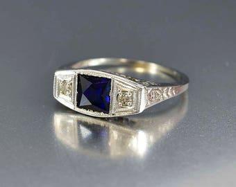 Antique Diamond Sapphire Ring, 18K White Gold Art Deco Sapphire Engagement Ring, Vintage Sapphire Diamond Ring, Gold Filigree Ring