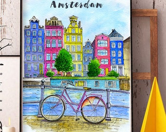Amsterdam watercolor illustration/Amsterdam print/Travel print/Netherlands cityscape/Amsterdam poster/Travel sketch print