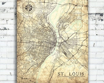 ST. LOUIS Canvas Print MO Missouri Vintage map St Louis City Vintage map Wall Art poster gift print retro old antique Design home decor map