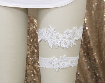 Wedding Garter Set, Ivory Pearl Beaded Lace Wedding Garter Set, Ivory Garter Set, Bridal Wedding Garter Belt