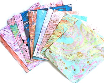 handmade marbling paper (15cm by 15 cm) -set of 11