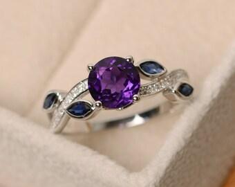 Amethyst ring, leaf ring, multistone ring, sterling silver, purple gemstone ring, amethyst engagement ring