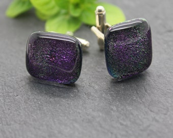 Deep Purple sparkly cufflinks, purple dichroic glass cufflinks