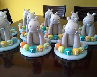 Clay Hipopotamous Cake Topper