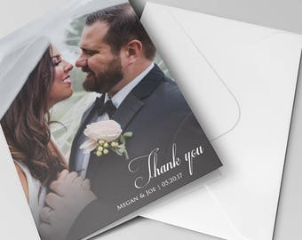 Thank You Cards with Matching Pearlescent Envelopes | Wedding Thank You Card | Custom Message | Wedding Photos | Thank You