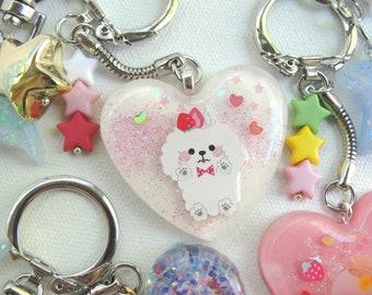 Bichon Fraise!  Puppy Strawberry Keychain Sweet Kawaii