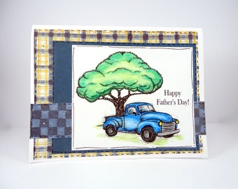 Happy Father's Day card, Blue Pickup Truck, card for Dad Daddy, Dads day, card for Father, grandpa card, antique pickup