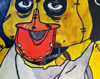 Price drop!!!!! five nights at freddy's chica canvas painting