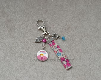 Door special key AIDES, bias in fabric Liberty, assorted Crystal beads