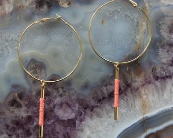 Silk Bar Drop Hoops - Peach/Gold