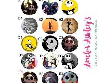 Spooky jack skellington - sally - badge reel holder - id badge clip -name badge reel - nightmare before christmas - halloween badge reel