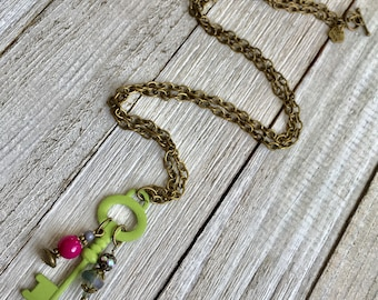 Boho Key Necklace, Vintage Inspired Key Necklace, Green Key Necklace, Key Charm Necklace, Boho Chain Necklace, Key Necklace, Key Jewelry