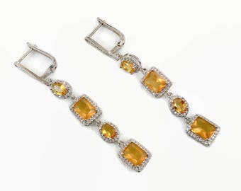 Long Earrings, Faux Citrine, Rhinestone, Sterling Silver, Pierced, Vintage Earrings, Drop, Sparkling, Crystal, Statement, Big Large, Evening
