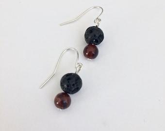 Diffuser Earrings - Tigers Eye Earrings - Minimalist Earrings - Lava Stone Earrings - Mothers Day Gift - Tigers Eye - Boho Earrings