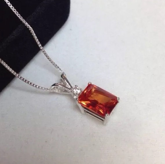 2ct emerald cut orange padparadscha sapphire sterling silver 2ct emerald cut orange padparadscha sapphire sterling silver or 14kt gold solitaire pendant necklace fine jewelry gifts orange sapphire aloadofball Gallery