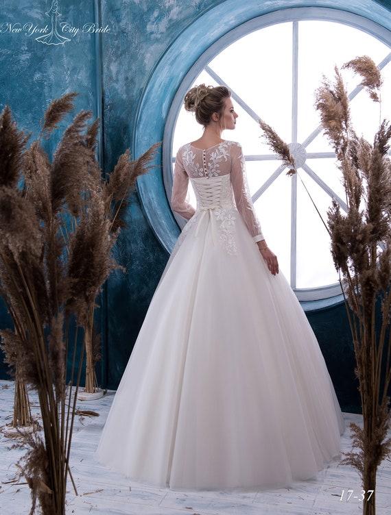 wedding from Ball dress sleeve Long wedding dress wedding wedding in dress Europe dress White made Ivory Wedding Tara dress NYC gown Bride FqFfwpT