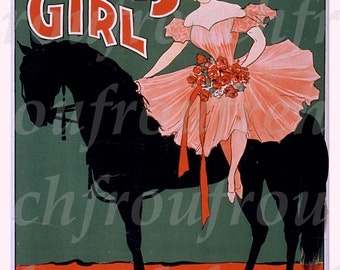 antique victorian illustration circus girl ballerina on horse digital download