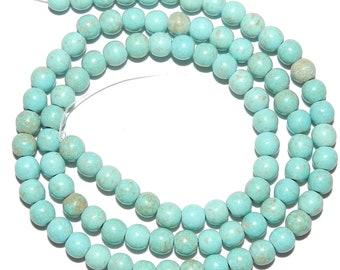 GR1496f Light Blue Turquoise 4mm Round Magnesite Gemstone Beads 15-inch Strand