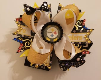 "5"" Pittsburgh Steelers Boutique Hairbow,  Yellow Hairbow, white Hairbow, black Hairbow, multicolored Hairbow, football team Hairbow"