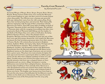 Coat of arms - family crest - name history - featuring international researchers in the US and Australia. Family name meaning &  family seal