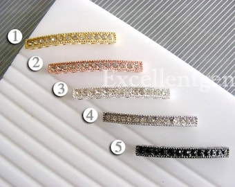 10 Rhinestone connector, Silver plated curved connector, side ways Rhinestones, Gold plated Bracelet Connector in 5 colors