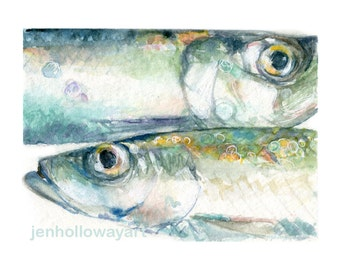 Watercolor Herring, For Him Fish Print, Herring Print, Fish Print, Fish Art, Herring Art