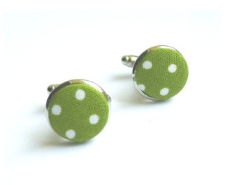 Polka-dotted fabric cuff links green white polka dots, color of the media option