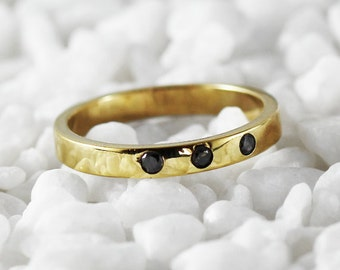 Gold Wedding Band Black Diamond Delicate Personalized Ring Mens Womens