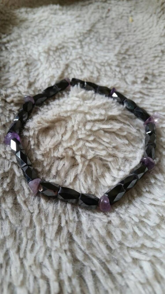 Reiki Attuned Magnetic Hematite and Amethyst Anklet